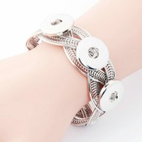 Noosa Chunks Snap Pulsera Oro Plata Color Ajustable Cuff Bangle Snap Pulseras fit 18MM Diy Snap Button Jewelry