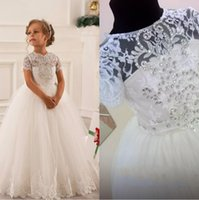 2016 Arabic Lace Crystals Ball Gown Flower Girl Dresses Vint...