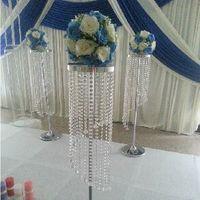 acrílico cristal boda decoración metal cristal soporte central pieza flor estante carretera marco H120cm (no incluye flor)