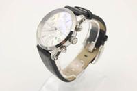 Vente chaude Promotion Quartz Chronographe Temps Hommes Platinum Bezel Blanc Cadran Blanc Analog Silver Signal Squelette Cuir Ceinture