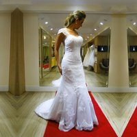 새로운 매력적인 인어 웨딩 드레스 캡 슬리브 백리스 보우 Appliuques 레이스 도트 Tulle 스윕 기차 신부 가운 사용자 정의 제작