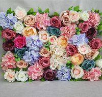 1 unids Flores artificiales Muro para la flor de la boda Fondo de la flor Seda Rosa Peony Hydrangea Flowers Wall Road Flowers Flowers Suministros de fiesta