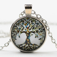 The tree of life time stone diamond necklace DIY alloy glass...