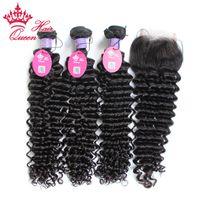 Kraliçe Saç Ürünleri Malezya Bakire İnsan Saç Atkı Arapsaçı Ücretsiz Derin Dalga 4 adet / grup, Dantel Kapatma Ile 3 adet Saç Demeti, DHL Nakliye