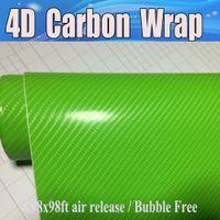 التفاح الأخضر 4d ألياف الكربون الفينيل مثل فيلم ألياف الكربون واقعية ل التفاف السيارة مع الهواء فقاعة الحرة تغطي الجلد حجم 1.52x30 متر 4.98x98ft