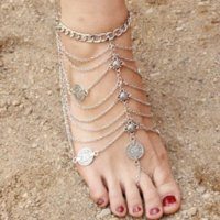 New Antique Silver Anklet Fashion Coin Tassel Leg Bracelet F...