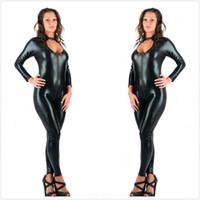 5XL Plus Size Mulheres Novidade Sexy Preto Faux Leather Latex Catsuit Zíper Frontal Jumpsuit Fancy Dress Fetiche corpo erótico terno PU