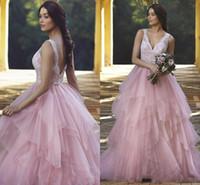 2017 Nuevo Romantic A Line Vestidos de novia Rosa V cuello Apliques de encaje Con cuentas de tul abalorios con grada espalda abierta Plus Size Vestidos de novia formales