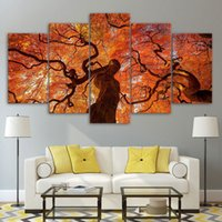 5 Pcs HD Printed Maple Tree Red Leaves Wall Art Poster Pictures Room Decoration Artworks Canvas Modern Oil Painting
