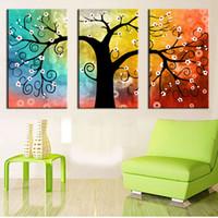 3 Panel Leinwand-Malerei-Kunst-Ölbaum Malerei bunte große Baum-Malerei auf Leinwand-Hauptdekor-Wand-Grafik abstrakter Wand-Kunst Bilddrucken