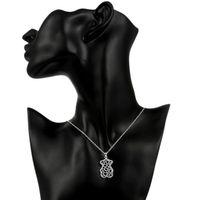 Heißer Verkauf Frauen Kleiner Bärenform Hohl Anhänger Halskette Sterling Silber Überzogene Halskette STSN770, Mode 925 Silber Halskette Weihnachtsgeschenk