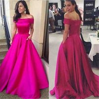 Off the Shoulder Long Fuchsia Satin Formal Evening Dresses w...