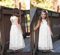 Lovely White Lace Flower Girl Dress for weddings A Line Tea ...