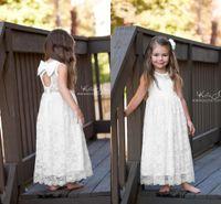 Düğünler için güzel Beyaz Dantel Çiçek Kız Elbise Bir Çizgi Çay Boyu Çocuk İlk Communion elbise 2017 Kız Doğum Günü Partisi Elbisesi