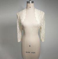 Günstige White Ivory Lace Bridal Boleros Hochzeit Jacken für Frauen Braut Langarm abgeschnitten Wrap Shrug für Abendkleid