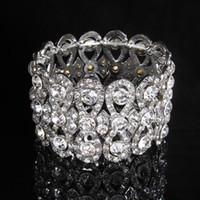 Top Crystal color plata pulseras nupciales para las mujeres joyería de la boda Bowknot rhinestone joyería nupcial envío gratis