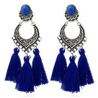 4 Colors Long Tassel Earrings Fashion Statement Enthic Drops...