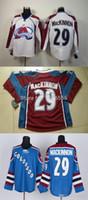 2016 Cheap Men's Colorado Avalanche # 29 Nathan MacKinnon Jersey Negro Blanco RED Lacing Neck Vintage Cosido auténtico Hockey Jerseys
