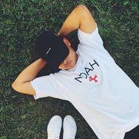 Maglietta europea moda noah uomo estate semplice tutto fiammifero maniche corte Top Hip Hop per uomo