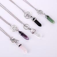 Fashion Star / Lotus sechseckigen Prisma Halsketten Edelstein Rock Natural Crystal Quarz Heilung Punkt Chakra Stein lange Charms Frauen Halskette