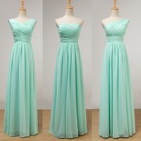 Mint Green Long Chiffon Brautjungfer Kleid Lace Up 2019 Plissee Junior Brautjungfer Kleider bodenlangen 100% echte Bilder