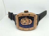Nouvelle Arrivée Montre Sport Hommes Meilleures Montres de luxe Qualité Mécanique Montre-Bracelet automatique Noir Bracelet en caoutchouc Rose Gold Skull Dial 023