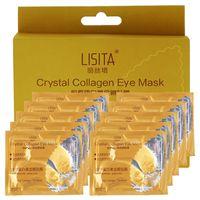 20PCS / BOX Marca Lisita alta qualidade cristal do ouro do Collagen Eye Mask Eye Patches Para anti-rugas olho Retirar presente preta para o aniversário menina