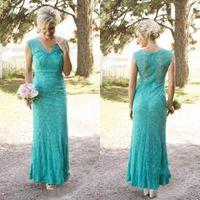 Stile di campagna 2016 Turquoise Pizzo Lungo Damigella d'onore Abiti da damigella d'onore elegante con scollo a V Zopper Indietro Guaina della caviglia lunghezza Abiti da Formali Custom Made EN6072