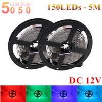RGB LED 스트립 IP20 SMD 5050 5M 150Led LED 리본 빛 30LED / M DC12V 유연한 LED 라이트