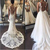 Sjöjungfru brudklänningar smycken ärmlös sheer nacke bröllopsklänningar tillbaka dragkedja med applique med avtagbar tulle overkirt bröllopsklänningar