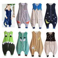 Mignon 7 modèles bébé Combi-pantalons barboteuses dessin animé enfant bébé sac sac gilet sans manche enjambeur flanelle fermeture du sommeil de couchage kid384