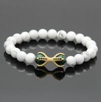 Großhandel 10 teile / los Micro Inlay Schwarz CZ Perlen Adler Pfote Charms Armbänder Weiß Howlith Marmor Stein mit Grünen Tigerauge Perlen