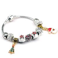 925 Sterling Silver Charm bracelet pendentifs sapin Bracelet Shambhala Perles pour pandora Bracelets Gfit 18 ~ 20 cm Bracelet de Noël