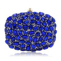 Azul Royal cristal saco de Embreagem de luxo diamante embreagem saco de noite de turquesa forma oval saco de casamento Artesanato mulheres pochette