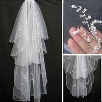 Lindo Pérolas Duas Camadas Longos Véus De Noiva Com Bordas de Lantejoulas Tule Baratos Véu De Noiva Acessório Do Casamento Frete Grátis Em Estoque