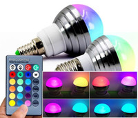 E27 E14 LED RGB Lampadina AC110V 220V3W LED RGB Spot luce dimmerabile magic Holiday RGB illuminazione + telecomando IR 16 colori