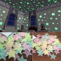 100 unids Pegatinas de Pared Calcomanía Brillar En La Oscuridad Bebé Niños Dormitorio Decoración Color Estrellas Luminosas Pegatinas de Pared Fluorescente Calcomanía