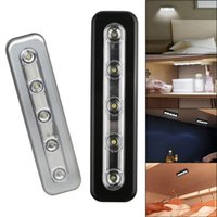 Mini 5LED Cabinet Night Light Use Batteria Stick-on Tap Push Nightlight Under Lampada da cucina Applique
