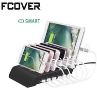 6 Port USB Şarj Istasyonu Evrensel Masaüstü Tablet Smartphone Çok Cihaz Hub Şarj Dock