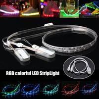 2PCS 60CM 24 RGB LED قطاع الخفيفة طاقة البطارية 3528 SMD USB تغيير ملون LED قطاع للأحذية DIY الإضاءة