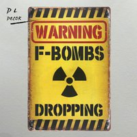 DL- WARNING F- BROPPING Metal Sign vintage garage wall art pos...