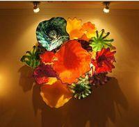 مصابيح الحائط الحديثة 100٪ منفوخ مورانو الفن ديكور زهرة لوحات الزجاج غرفة المعيشة تزيين المنزل