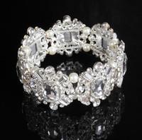 جودة عالية كريستال سوار سلسلة الزفاف للنساء حجر الراين الأزياء والمجوهرات معصمه لؤلؤة الزفاف اكسسوارات الفضة الألوان