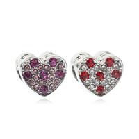 New lega Zircon Big Hole perline gocciolare Retro amore forma diamante 3 colori vetro cristallo argento perline gioielli braccialetto Pandora fai da te