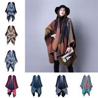 جديد حار بيع الخريف الشتاء امرأة الفتيات منقوشة الأوشحة الأزياء كيب عباءة سماكة وشاح دافئ BA543