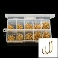 500pcs 1box NO. 3- 12 Gold High Carbon Steel Hole for Ise Barb...