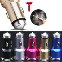Metal Safty Hammer Carregadores de Carro De Emergência 5 v 2A Dual USB Carregador Universal Auto Adaptador para iphone 6 7 plus samsung s6 s7 nota 4 5 htc telefone