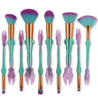 10pcs set Mermaid Makeup Brushes Blush Powder Eyeshadow Eyes...