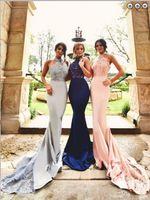 シースホルターレースプラスサイズの長い赤面の花嫁介添人ドレス安い結婚式の品質習慣のパーティーのイブニングドレス