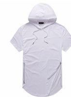 t shirt uomo estate magliette con palangari Curve Hem incappucciato disegno della chiusura lampo Maniche corte parti superiori casuali per Male
